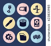 set of 9 part filled icons such ... | Shutterstock .eps vector #623833985