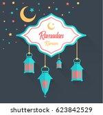 ramadan kareem greeting vector...   Shutterstock .eps vector #623842529