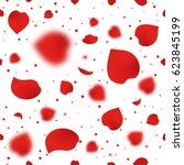 red rose petals seamless... | Shutterstock . vector #623845199