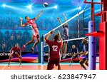 professional volleyball players ... | Shutterstock . vector #623847947