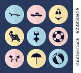 set of 9 beach filled icons... | Shutterstock .eps vector #623850659