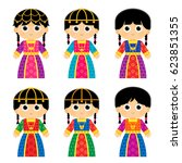 set of girls are wearing an old ... | Shutterstock .eps vector #623851355