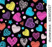 motley seamless pattern with... | Shutterstock .eps vector #623852027