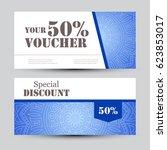 gift voucher template with... | Shutterstock .eps vector #623853017