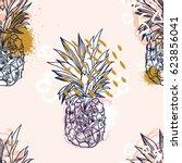 pineapple tropical fruit.... | Shutterstock .eps vector #623856041
