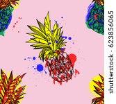 pineapple tropical fruit.... | Shutterstock .eps vector #623856065