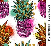 pineapple tropical fruit.... | Shutterstock .eps vector #623856101