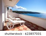 terrace with a sea view | Shutterstock . vector #623857031