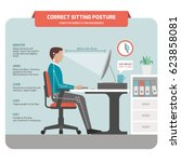 correct sitting at desk posture ... | Shutterstock .eps vector #623858081