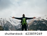 young man with backpack...   Shutterstock . vector #623859269