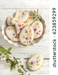 colorful easter biscuits.... | Shutterstock . vector #623859299