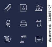 set of 9 work outline icons set.... | Shutterstock .eps vector #623859407