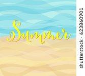 beautiful summer holidays... | Shutterstock .eps vector #623860901