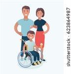 vector illustration of happy... | Shutterstock .eps vector #623864987