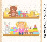 collection of toys | Shutterstock .eps vector #623865227