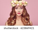 beautiful blonde woman with... | Shutterstock . vector #623869421