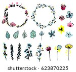 vector graphic set with... | Shutterstock .eps vector #623870225