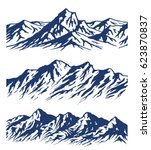 set of mountain range... | Shutterstock .eps vector #623870837