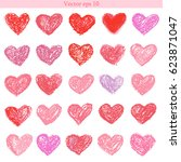 vector set of hand drawn pastel ... | Shutterstock .eps vector #623871047