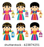 girls are wearing old... | Shutterstock .eps vector #623874251