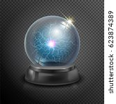 magic crystal ball of glass and ... | Shutterstock .eps vector #623874389