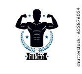 bodybuilding and fitness sport... | Shutterstock . vector #623876024