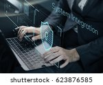 data security system shield... | Shutterstock . vector #623876585
