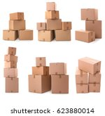 Cardboard Boxes On White...