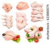 different parts of raw chicken... | Shutterstock . vector #623880074
