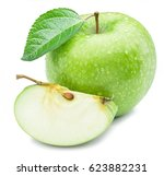 ripe green apple with water... | Shutterstock . vector #623882231