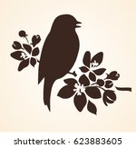 spring bird on blooming twig of ... | Shutterstock .eps vector #623883605