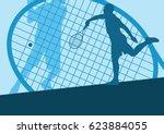 tennis player male vector... | Shutterstock .eps vector #623884055