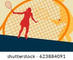 tennis player female vector... | Shutterstock .eps vector #623884091