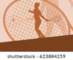 tennis player female vector... | Shutterstock .eps vector #623884259