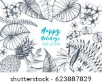 tropical palm leaves design... | Shutterstock .eps vector #623887829