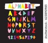 colorful hand drawn alphabet...   Shutterstock .eps vector #623890985