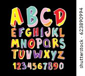 colorful hand drawn alphabet... | Shutterstock .eps vector #623890994