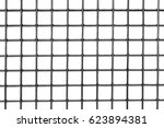 steel square grid on a white... | Shutterstock . vector #623894381