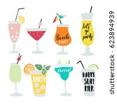 Set of hand drawn alcoholic drinks, cocktails with lettering quotes. Summer holiday and beach party concept. Isolated vector icons. | Shutterstock vector #623894939