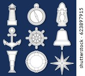 set of stickers simple nautical ... | Shutterstock .eps vector #623897915