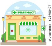 facade pharmacy store with a... | Shutterstock .eps vector #623900477