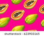 seamless pattern with papaya....   Shutterstock .eps vector #623903165