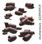 chocolate curls big set... | Shutterstock . vector #623905919