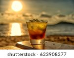 the frozen glass of mojito... | Shutterstock . vector #623908277
