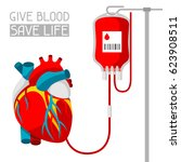 donate blood. medical and... | Shutterstock .eps vector #623908511