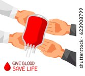 donate blood save life. medical ... | Shutterstock .eps vector #623908799
