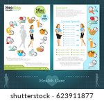 two sided brochure or flayer... | Shutterstock .eps vector #623911877