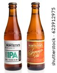 Small photo of GRONINGEN, NETHERLANDS - APRIL 15, 2017: Bottles of New Zealand Monteith IPA and Summer Ale beer isolated an a white background