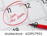 save the date written on a... | Shutterstock . vector #623917931