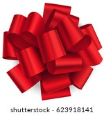 decorative big red bow isolated ... | Shutterstock .eps vector #623918141